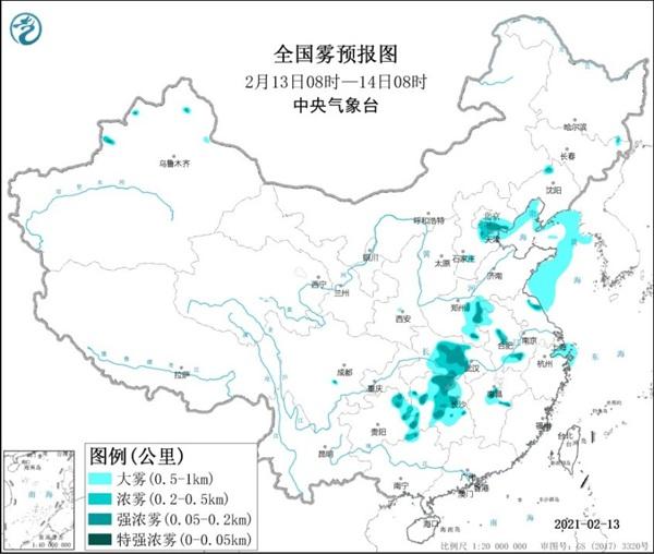 大雾黄色预警:河南、安徽、湖北等地有大雾