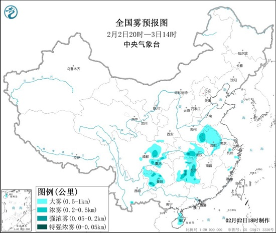 大雾黄色预警:河南湖北湖南四川贵州等局地能见度不足200米