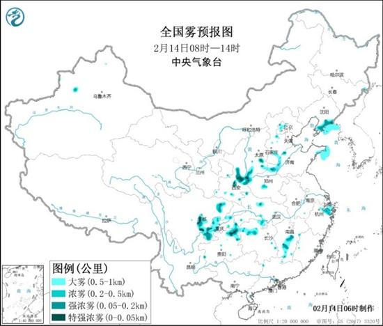 大雾黄色预警:陕西江西四川盆地辽东半岛等局地有特强浓雾