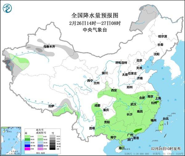 从2月27日起 中部和东部地区将迎来大范围的雨雪