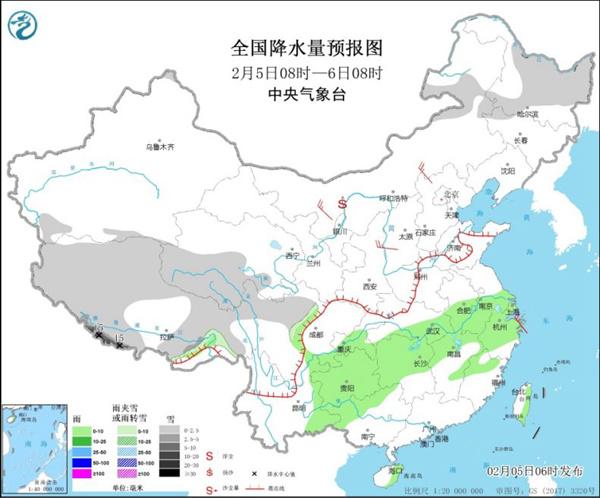 北方很多地方的气温将达到新高 长江中下游有雨