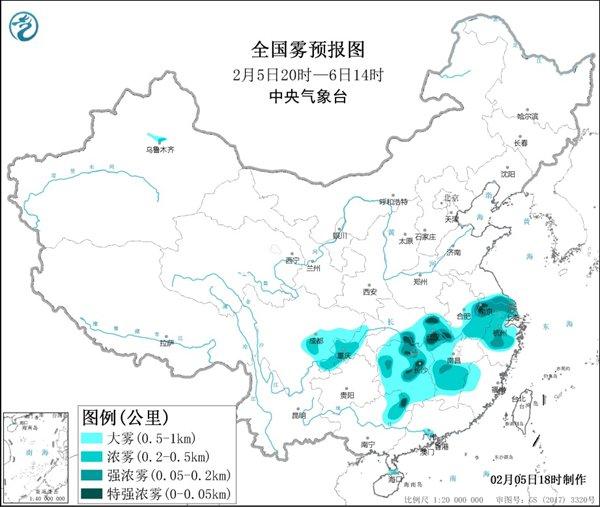 大雾黄色预警:江苏浙江湖北湖南等局地有特强浓雾