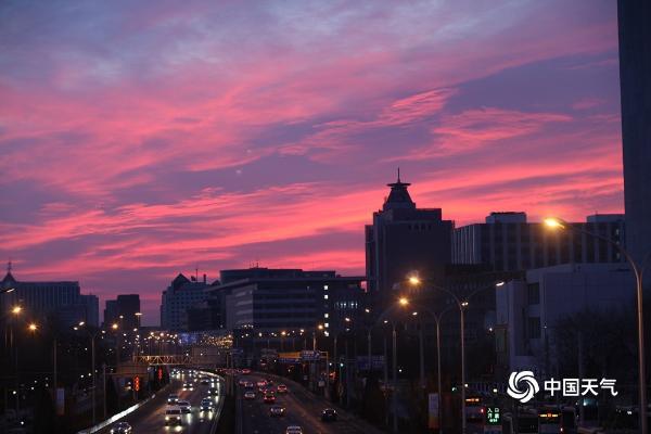 惊艳!北京天空出现了一大片粉红色的日出,                                           </ul></div><sup draggable=
