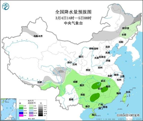 长江以南将有强降雨和大规模闪电