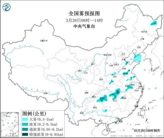大雾黄色预警:山东安徽江苏湖北湖南贵州等局地有强浓雾