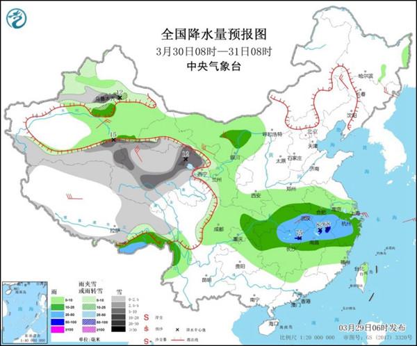 沙尘将南下 长江中下游雨势增强局地暴雨