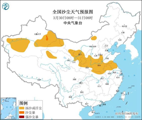 沙尘暴蓝色预警 11省区部分地区有扬沙或浮尘