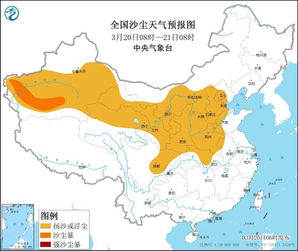 沙尘暴蓝色预警!北京新疆等13省区市将现扬沙或浮尘