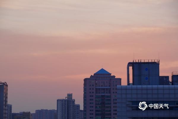 梦幻!北京橙粉色晚霞扮靓天际