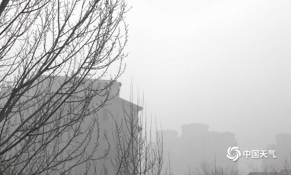 北京今天早上能见度低 延庆有雾 建筑物隐约可见