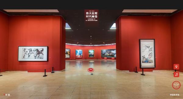 听濮存昕康辉海霞等人讲解中国美术馆庆祝建党百年作品展