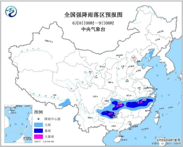 暴雨黄色预警 湖南江西贵州等地有大暴雨