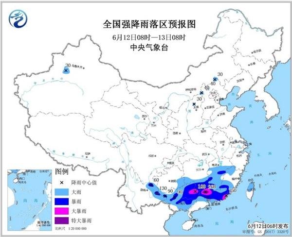 暴雨黄色预警:广西广东等部分地区有大暴雨