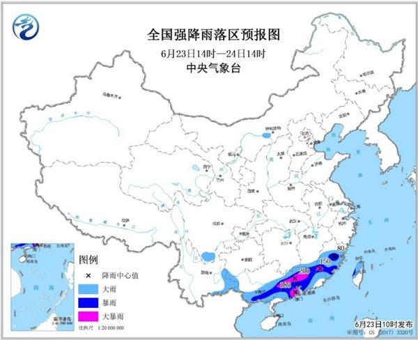 暴雨黄色预警 福建广东广西等地部分地区有大暴雨