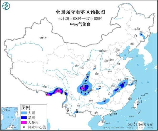 暴雨蓝色预警:四川安徽等10省区有大到暴雨