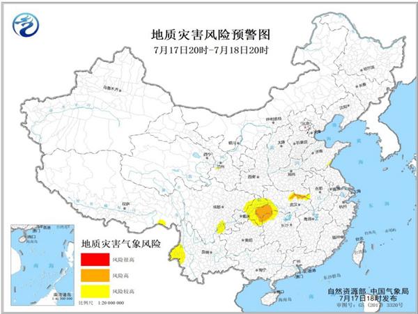 地质灾害预警 河南湖北湖南重庆局地发生地质灾害气象风险高