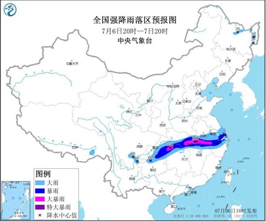 暴雨黄色预警 湖北安徽湖南部分地区有大暴雨湖北局地特大暴雨