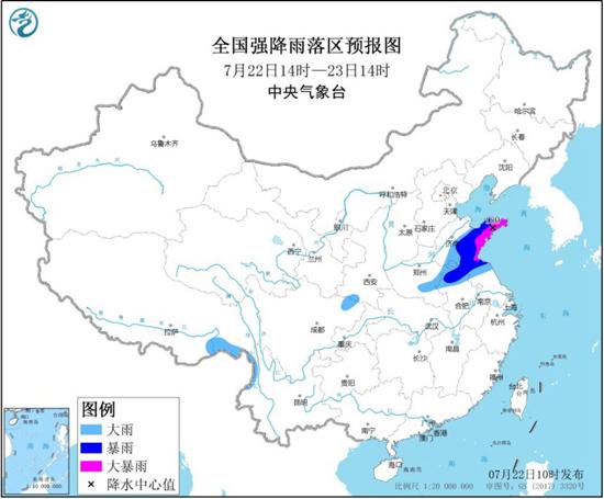 暴雨黄色预警 江苏安徽河南等7省区有大到暴雨山东局地大暴雨
