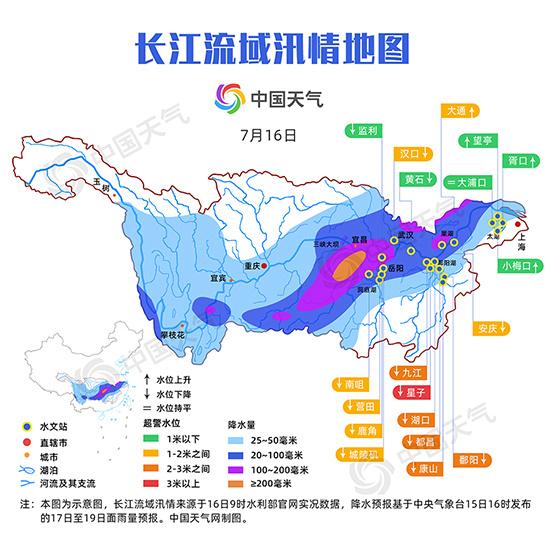 汛情地图:太湖或现超保证水位 长江中游水位将复涨-资讯-中国天气网