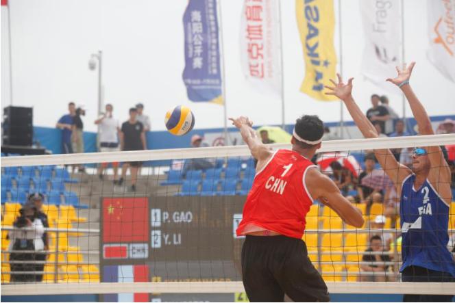 世界沙排巡回赛海阳公开赛中国男排头号组合2:1险胜法国队