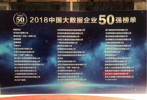 """誉存科技入选工信部""""2018中国大数据企业50强""""榜单"""