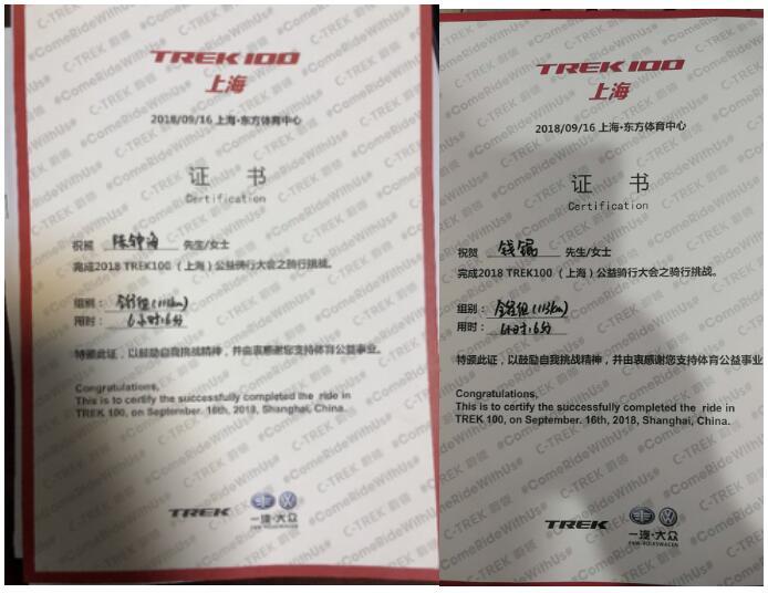 TREK100上海站公益骑行 民创集团骑手代表爱心前行