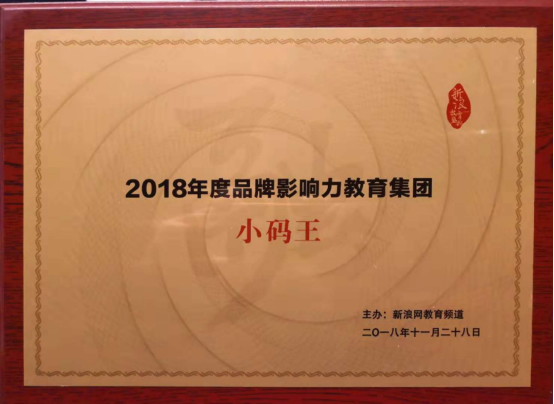"""小码王荣膺新浪教育盛典""""2018年度品牌影响力教育集团""""大奖"""