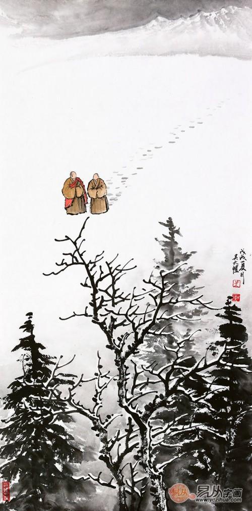 青年实力派山水画家吴大恺,纯净而温情的雪景山水画欣赏