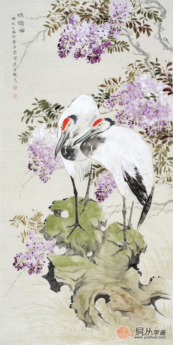 玄关吉祥挂画推荐二:健康长寿仙鹤图 仙鹤是一种吉祥鸟,被人们称作