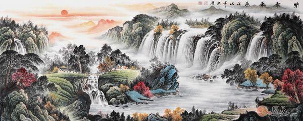 手绘山水国画装饰风水顺畅!