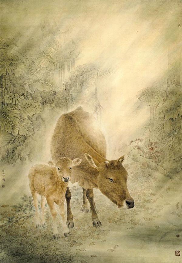 广西画家蓝健康艺术浅析,八桂放牛娃