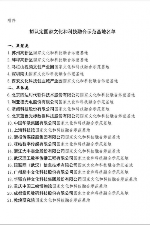 """咪咕数媒获批两部委联合认定的""""国家文化和科技融合示范基地"""""""