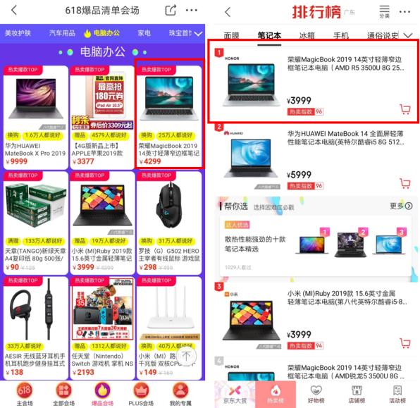 618开门红双冠王 荣耀MagicBook笔记本6日限时再降200