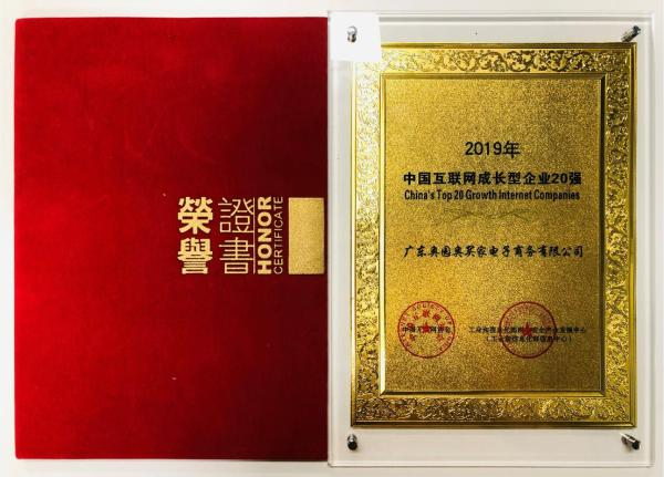 奥买家荣获2019年中国互联网成长型企业20强