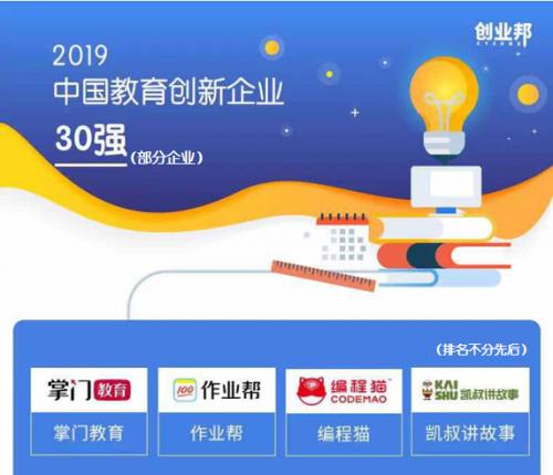 掌门教育荣登创业邦2019中国教育创新企业榜单 三大维度激发创变能量