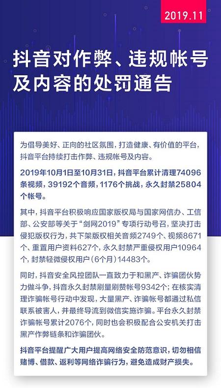 抖音建立用户回访制度深入打击网络诈骗 10月封禁诈骗账号2076个