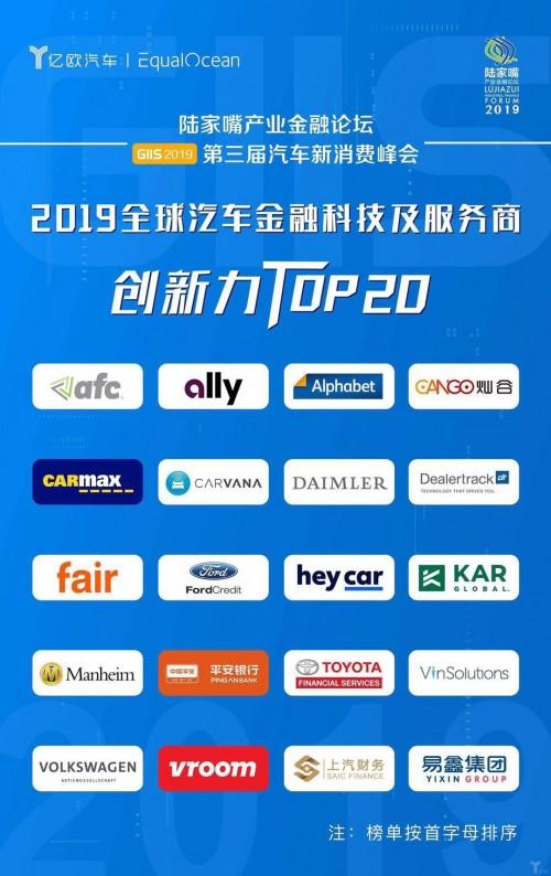 """易鑫集团再获认可,入选"""" 2019全球汽车金融科技及服务商创新力TOP20"""""""