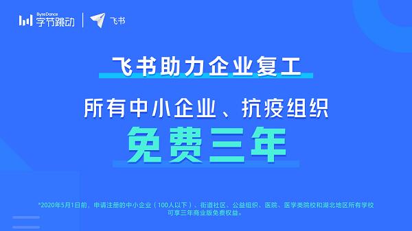 抖音团队高效协作背后的办公套件飞书,宣布向中小企业免费三年