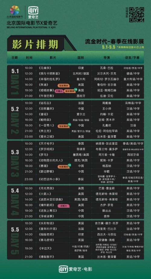 北影节联合爱奇艺与影迷云上重逢  五一假期每天一部新片