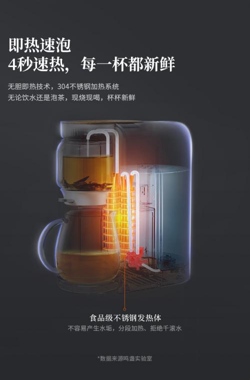 比即热饮水机好用,鸣盏即热茶饮机私人定制你的茶饮生活