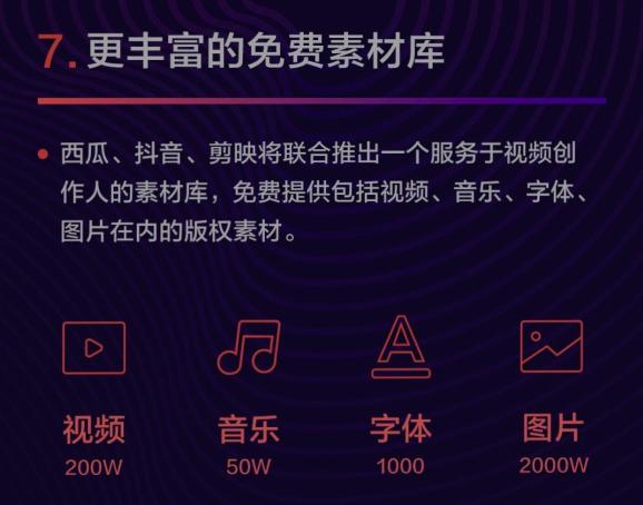 西瓜视频将联合抖音、剪映推出免费素材库,服务视频创作人
