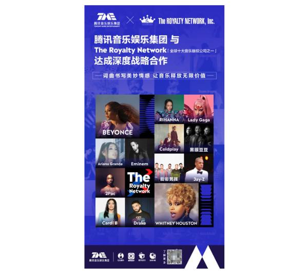 腾讯音乐与全球十大音乐版权公司之一的The Royalty Network达成战略合作