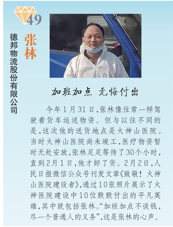 """疫情期间逆行回武汉 德邦快递张林获评""""2020最美货车司机"""""""