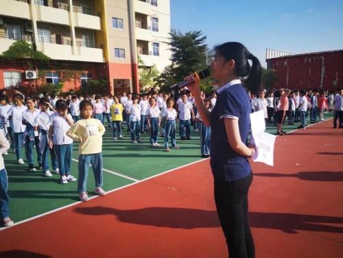 缔至美董事长张亦菲 参观阳江市江城区广府实验学校