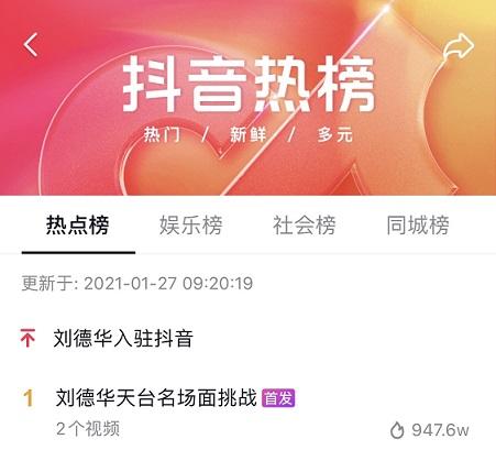官宣!刘德华全球首个中文社交账号正式入驻抖音