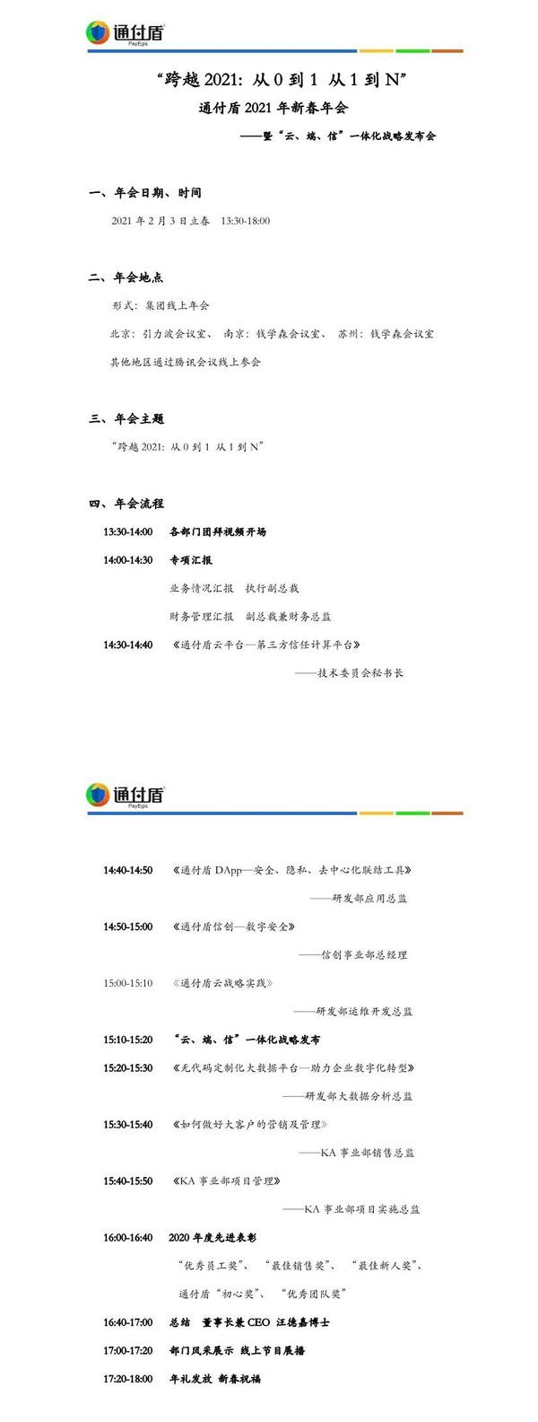 """《跨越2021,从0到1 从1到N》,通付盾新春年会暨""""云、端、信""""一体化战略发布会成功举行"""