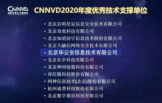 喜讯华云安荣获CNNVD2020年度优秀技术支撑单位