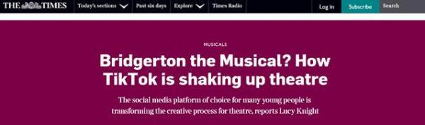 《泰晤士报》:抖音促进音乐创新并帮助戏剧在线传播