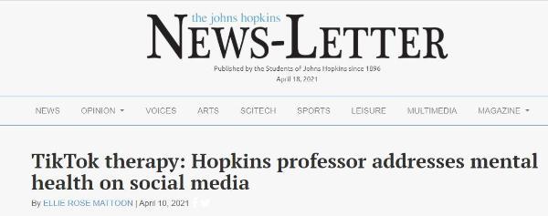 """寓""""疗""""于乐:霍普金斯大学教授在TikTok讲授心理健康知识"""