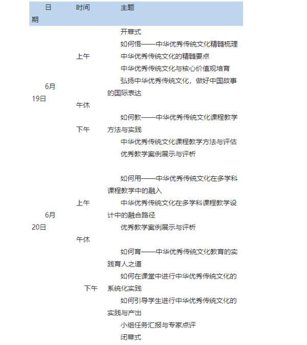 中华优秀传统文化教育教学能力提升训练营